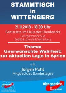 Stammtisch Wittenberg - Unerwünschte Wahrheit zur Lage in Syrien @ Gaststätte im Haus des Handwerks