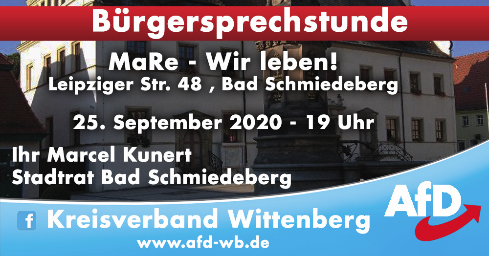 Bürgersprechstunde Bad Schmiedeberg @ Ma-Re - Wir leben!