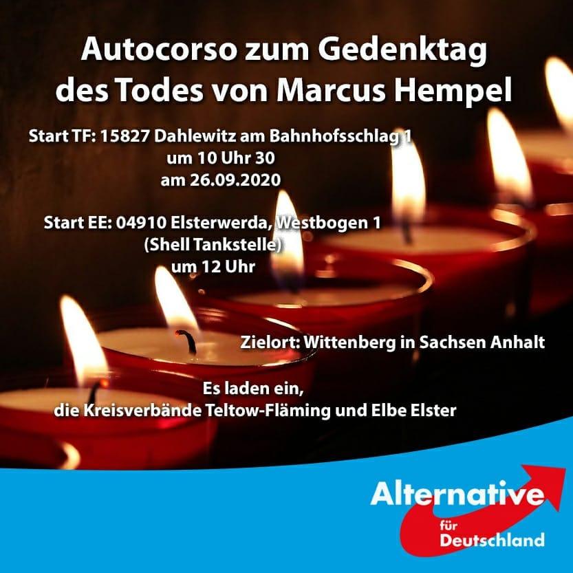 Autocorso zum Gedenktag des Todes von Marcus Hempel