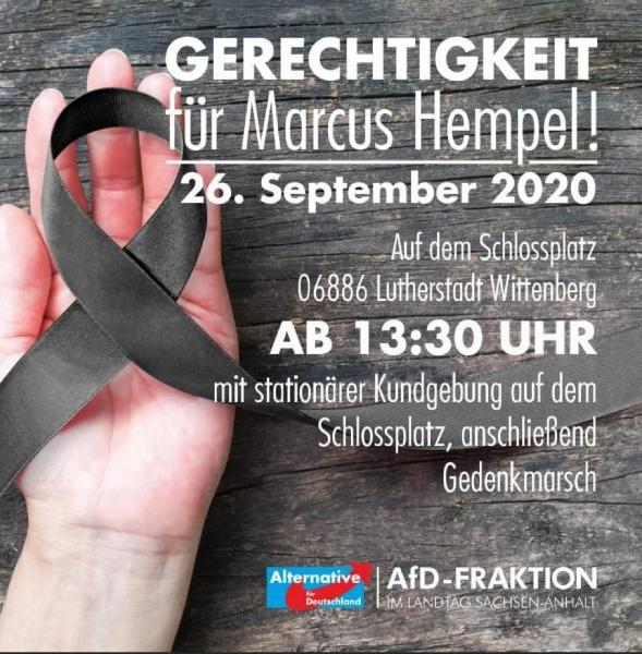 Kundgebung der AfD-Fraktion zum 3. Todestag von Marcus Hempel @ Schlossplatz Wittenberg
